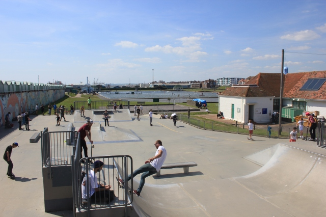 Skateboarders next to Hove Lagoon