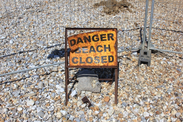 Medmerry Beach Closed Sign