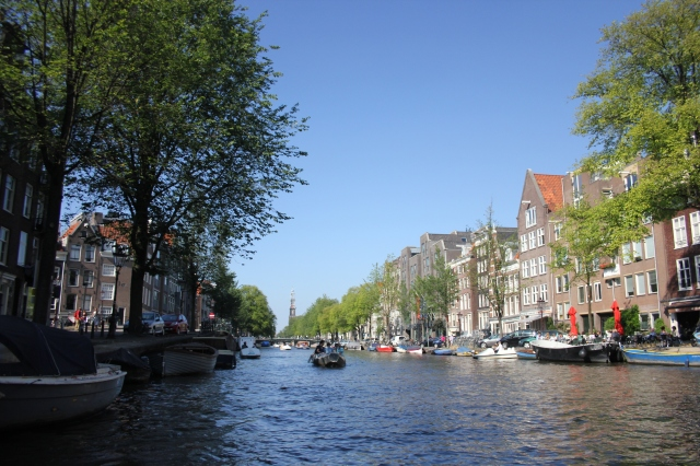 Looking Back to Westerkerk on Prinsengracht Canal