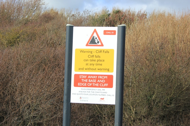 Cliff Eosion Warning Sign