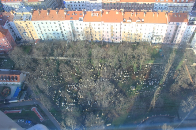 View to Jewish Cemetery from Žižkov Tower