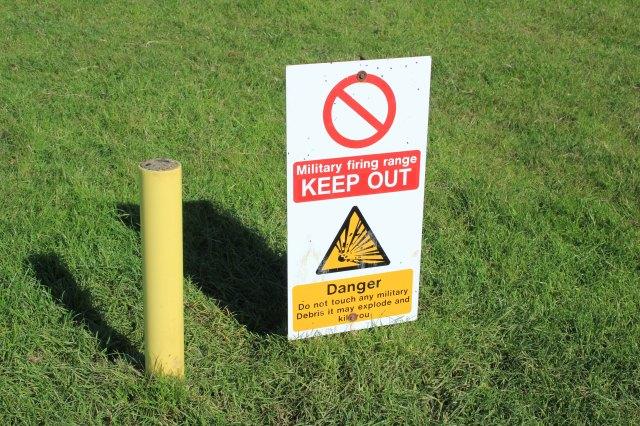 Danger Sign in the Lulworth Range Walks