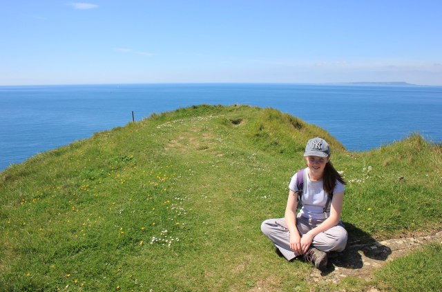 Catherine on top of Worbarrow Tout